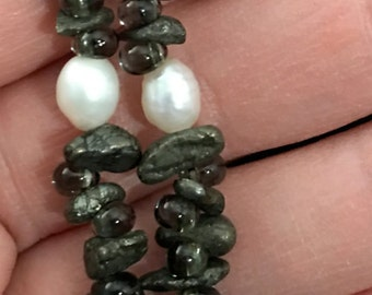 Beautiful gemstones and freshwater pearl necklace