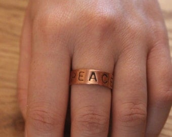 Adjustable ring with recycled copper - Peace ring - copper ring - gift