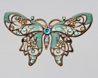 Large Vintage Avon Blue Enamel and Rhinestone Butterfly Figural Brooch / Pin.