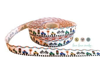 """7/8"""" Racecar-Racetrack-Grosgrain Ribbon by the Yard-Scrapbook-Craft Projects-Gift Wrap-party supplies-trim-Race-Car"""