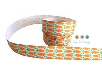 "1"" Carrot-Easter-Holiday-Grosgrain-Ribbon by the Yard-Hair bow-Scrapbooking-Crafts-Gift Wrap-Bunny-Orange-Rabbit"