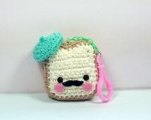 French Toast Plush Amigurumi Keychain Kawaii Plush Crochet Food Mustache Cute Desk Accessories Backpack Accessory Planner Accessory Kawaii