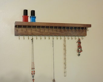 Necklace Organizer - Necklace Hanger - Jewelry Organizer - 35 Jewelry Hooks - Attached Shelf - Red Mahogany Finish - Other Colors Too