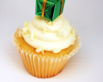Christmas Colour Foil Present Cupcake Toppers