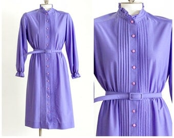 1980s purple belted shirt dress with ruffle collar