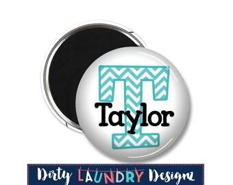 "1.5"" Custom Name Button Magnets /Chevron/Kids Chore Magnets"