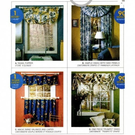 McCalls 9211 Cafe Curtains Swag Valance Window Topper Home