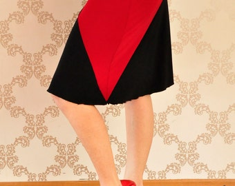 Black and red tango skirt with lace