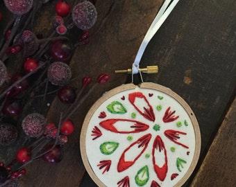 Floral Christmas Ornament, Hoop Art Ornament, Christmas decorations, Christmas Ornament, Embroidery Hoop Decor