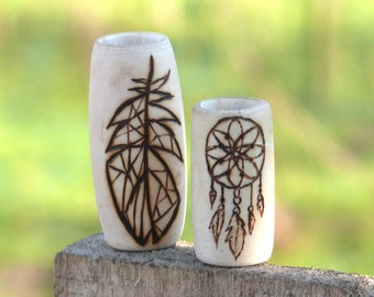 Wood dread beads: 2 unique beads for dreads - dreamcatcher and geometric feather beads