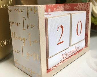 Perpetual desk calendar, wooden block calendar, white gold coral block calendar, gold cursive words, coral white floral patterned calendar