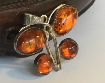 Sterling Silver & Amber Butterfly Pendant