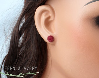 Wine burgundy dark red earrings. Flower post stud earrings. Sterling silver elegant dainty