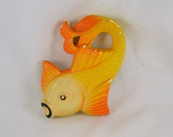 Chalkware Fish - 1977 Miller Studios Koi Fish Yellow and Orange - Mid Century s Retro Mod Bathroom Wall Decor