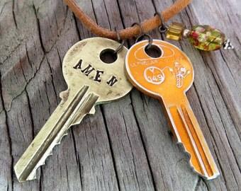 AMEN Key Necklace – Engraved Key Necklace – Stamped Key Necklace – Word Key – Upcycled Recycled