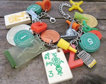 Game Night Chunky Charm Bracelet - Vintage Game Pieces - Upcycled Assemblage Junk Jewelry - Monopoly - Hollywood Go - Mahjong - Clue