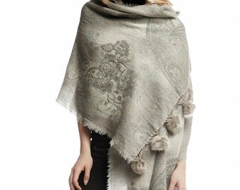 Grey wool shawl with real fur pom poms
