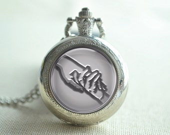 Steampunk handshake pocket watch,Handshake picture pendant necklace,locket necklace watch jewelry gift (HB031)