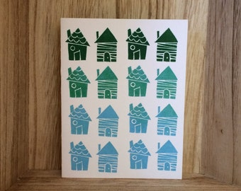 Ombre Houses Greeting Card
