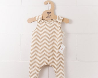 100% Organic Cotton Dungarees (0->3/4Y)  / Overalls / Knee Patch / Snap Shoulders / Tan Chevrons