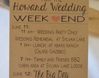 Wedding Weekend Itinerary - Destination Wedding - Hotel Guest Gift Basket - Wedding Schedule - Wedding Timeline
