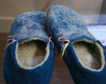 GG Blue hand felted slippers, 100% wool, UK size 5