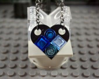 Heart Necklace Black and Transparent Blue Handmade from Lego bricks