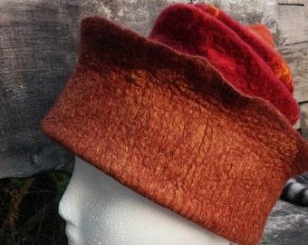 Concertina Felt Hat Unique Handmade Brown Red Orange OOAK