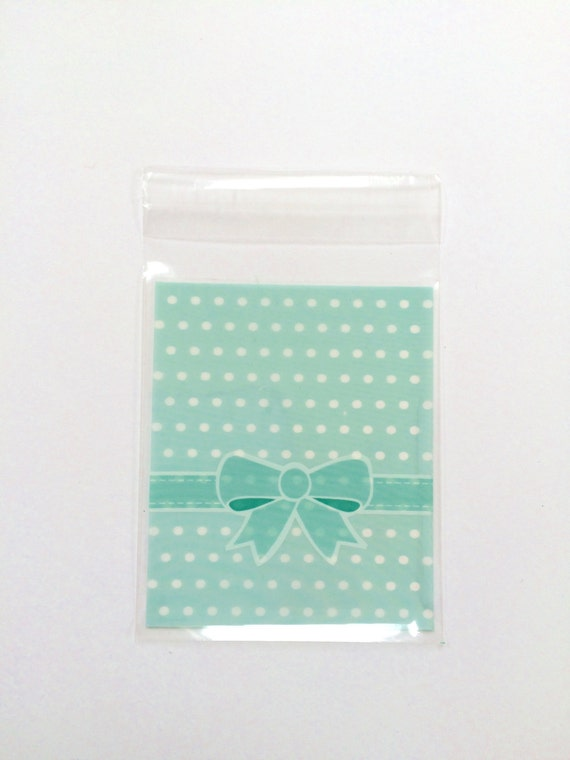 Cellophane bags, self adhesive, mint green, polka dots, bow, packaging, baby shower