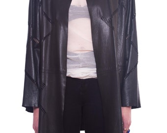 FENDI Cutout Leather Jacket SIZE 38 Black Perforated Streaks See Through Unlined