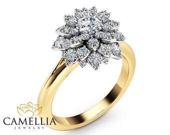 Diamond Flower Engagement Ring 14K Two Tone Gold Flower Ring Diamond Unique Engagement Ring