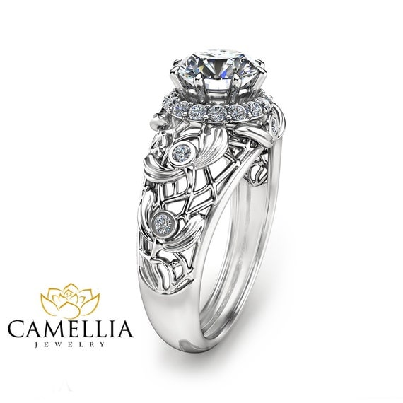 unique moissanite engagement ring 14k white gold moissanite