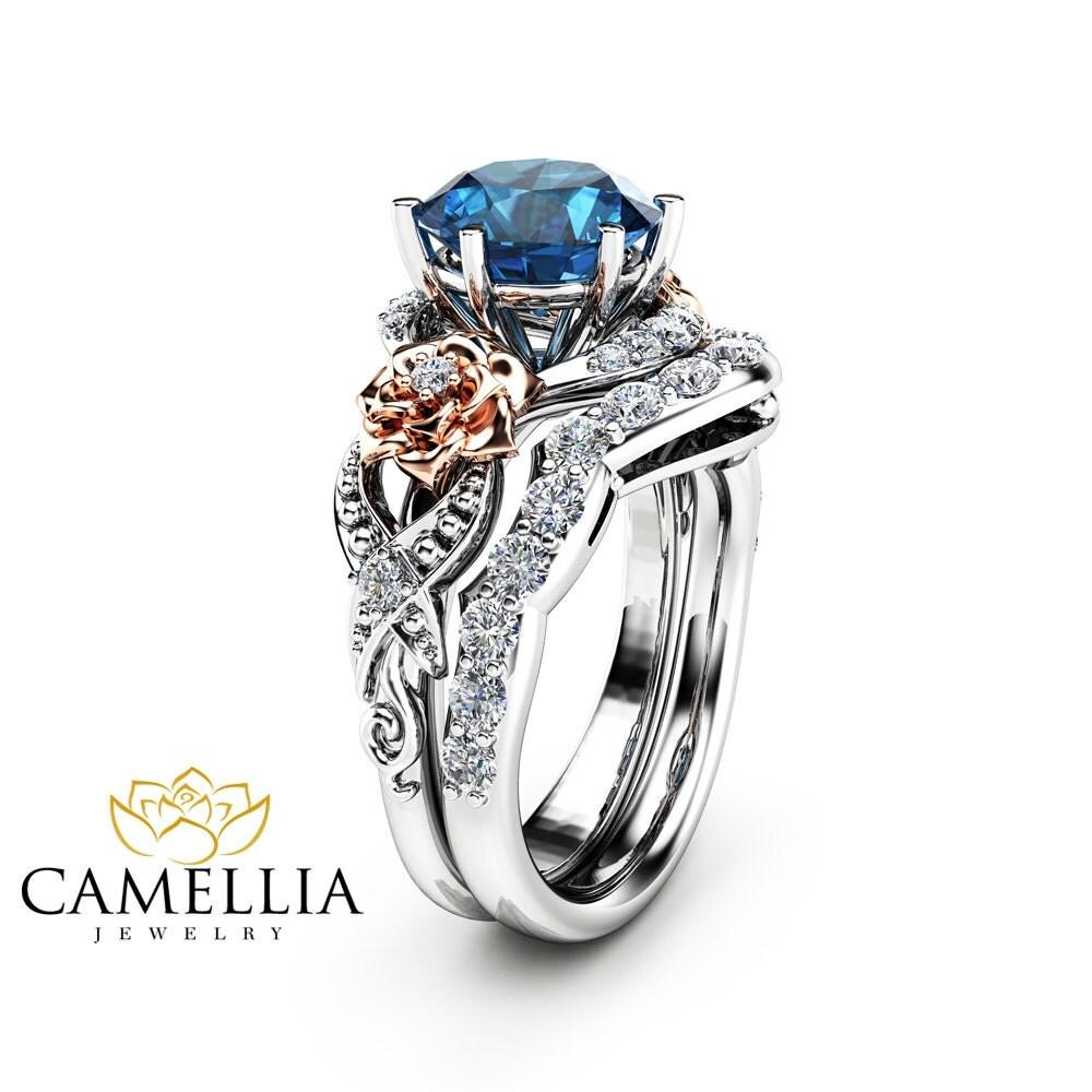 blue topaz engagement ring set 14k two tone gold topaz ring. Black Bedroom Furniture Sets. Home Design Ideas