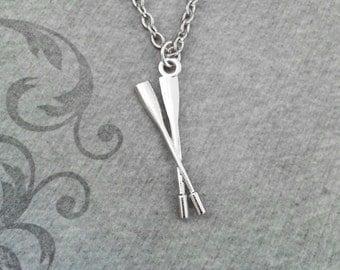 Oars Necklace SMALL Silver Oar Necklace Oar Jewelry Rowing Jewelry Rowing Gift Oar Charm Necklace Oars Pendant Necklace Rowing Team Gift