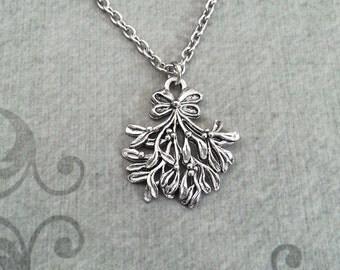 Mistletoe Necklace Misletoe Jewelry Christmas Jewelry Stocking Stuffer Xmas Necklace Holiday Jewelry Silver Mistletoe Charm Pendant Necklace