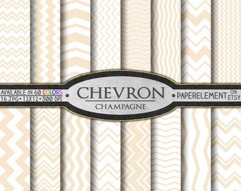 Champagne Chevron Digital Paper: Cream Chevron Backgrounds, Beige Chevron Stripes, Ivory Chevron, Neutral Chevron Pattern, Tan Chevron Paper