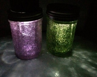 Two Solar Powered Light Jars/ Camping/ Garden/ Lanterns/ Decor
