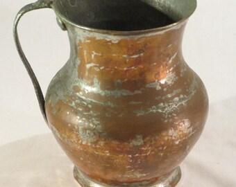 Vintage Copper Pitcher from Turkey Turkish Pitcher