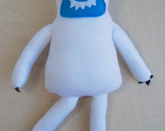 Plush Yeti, Stuffed Monster, Big Foot, Friendly Monster, White