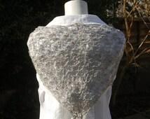 Autumn Sale: Gray wool triangle lace shawl; handknitted bramble stitch shawl in gray shetland wool