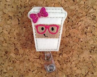 Badge Reels | Nerd COFFEE Badge Reel | Geeky FELT Badge Reel | Retractable ID Name Holder | Nurse Badge |  Teacher Gift | Pink 863