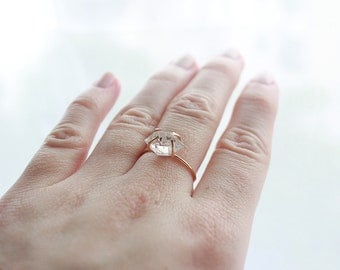 Herkimer Diamond 14k Gold Filled Ring / Bohemian Gemstone, Engagement Ring, Stacking Rings / Delicate Wedding Ring