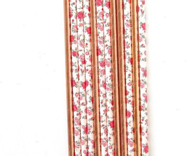 Rose Gold Foil and Floral Rose Pattern Straw With Gold Flag, Paper Straw, Rose Gold Straw, Gold Straw Flag Baby Shower Wedding Straw, Straw