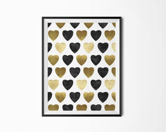 Geometric print, Hearts poster, Black watercolor and gold,  Heart decor, Scandinavian print, Nordic, Minimalist print, Printable poster