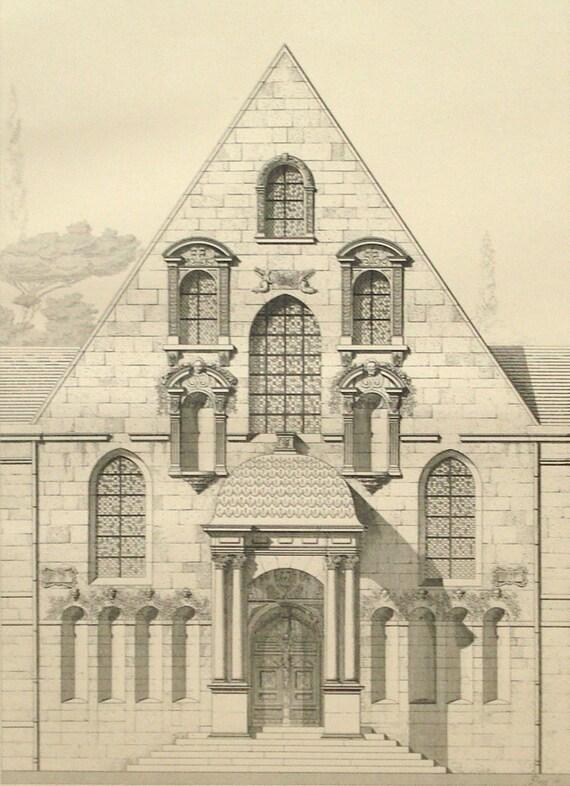 Court of dijon facade 1888 architecture print court house for Dijon architecture