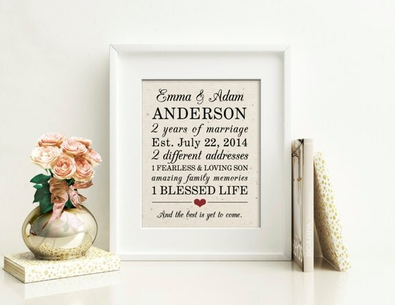 2 Year Wedding Anniversary Gift Ideas Cotton : Year Anniversary Cotton Gift Personalized Anniversary Gift ...