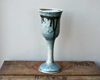 SALE-Vintage Studio Pottery Wine Goblet
