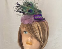 Peacock Feather Hat - Feather Fascinator - Roaring Twenties - Purple Feather Hat - Flapper Style -Derby Hat -Cocktail Hat -Couture Millinery