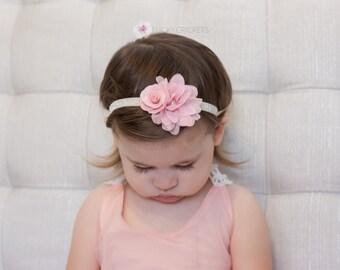 Pink Baby Headband, Pink Headband, Pink Flower Headband, Baby Flower Headband, Baby Headband, Light Pink Headband, Rose Headband, Pink Baby