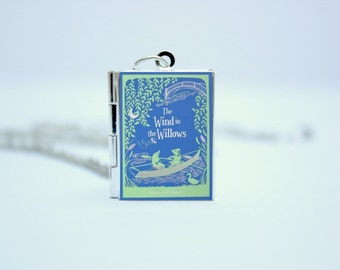 The Wind In The Willows by Kenneth Grahame Book Cover Locket Charm Necklace / Bracelet / Keyring with Personalised Bookworm Library Card